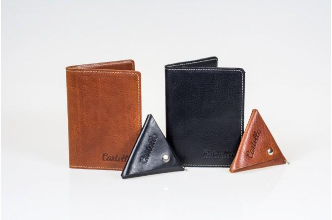 Skórzany cienki portfel męski bez podszewki Cartello M411