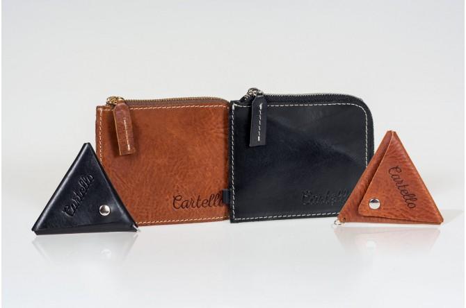 ZESTAW 2: Skórzany portfel męski na zamek Cartello M410 + bilonówka