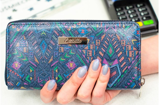 Skórzany niebieski portfel damski na zamek Cartello D273
