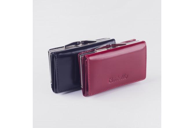 Skórzany mały portfel damski z biglem Cartello 011