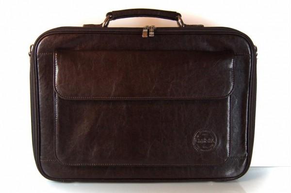 Skórzana teczka na laptopa z paskiem Cartello F04